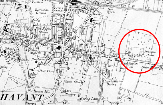 Map of Havant showing Denvilles House in 1899