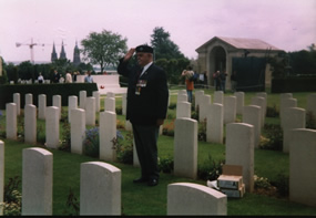 Len Butt, Paying Respects at the the Grave of Sgt J.A.Brown R.E.